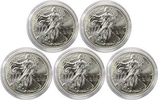 1996 1 Oz. American Silver Eagle 5 Coin Set Brilliant Uncirculated