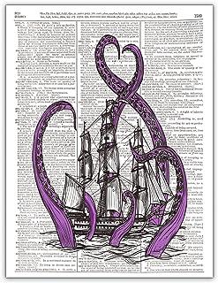 The Kraken, Purple Sea Monster, Old Ship, Dictionary Page Art Print, 8x10, Unframed