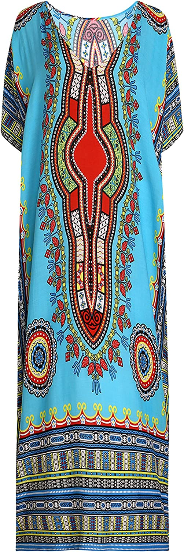 EPLAZA Women Hippy Boho Maxi Long Kaftan Caftan Dress Night Gown Free Size