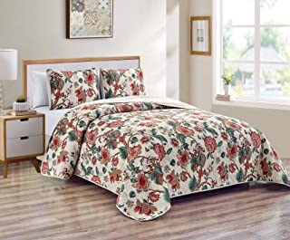 Luxury Home Collection 3 Piece Full/Queen Quilted Reversible Coverlet Bedspread Bedding Set Floral Printed Beige Taupe Dar...
