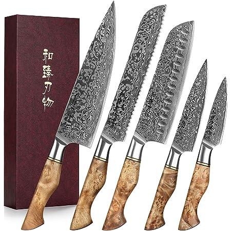 HEZHEN Couteaux de Cuisine 5 Pièces, Pain Santoku en Acier Damas traité thermiquement sous Vide et Acier Japonais à Haute teneur en Carbone Universel, avec boîte-Cadeau