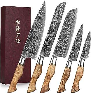 HEZHEN Couteaux de Cuisine 5 Pièces, Pain Santoku en Acier Damas traité thermiquement sous Vide et Acier Japonais à Haute ...