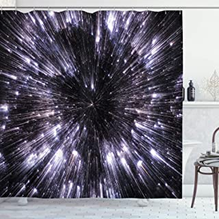 Ambesonne Galaxy Shower Curtain, Speed of Life Space Travel Galaxy Universe Science Fiction Future, Cloth Fabric Bathroom Decor Set with Hooks, 75