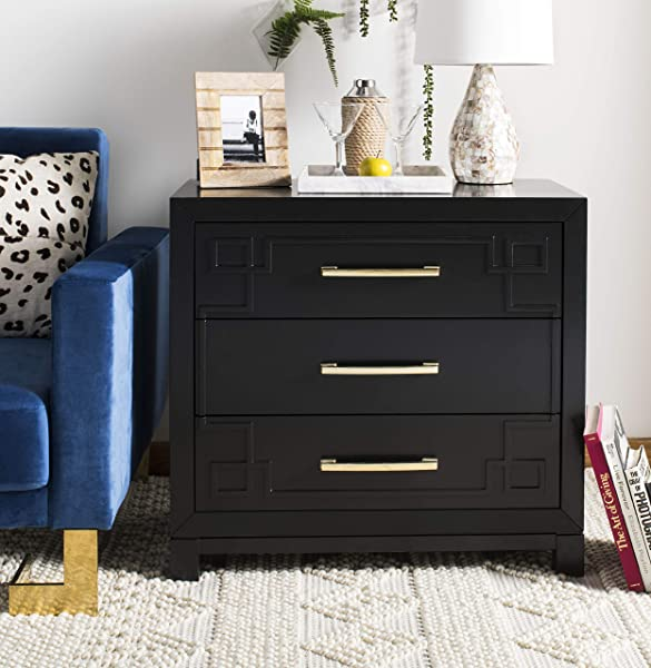 Safavieh CHS6412C Home Collection Raina Black And Gold 3 Chest Of Drawers