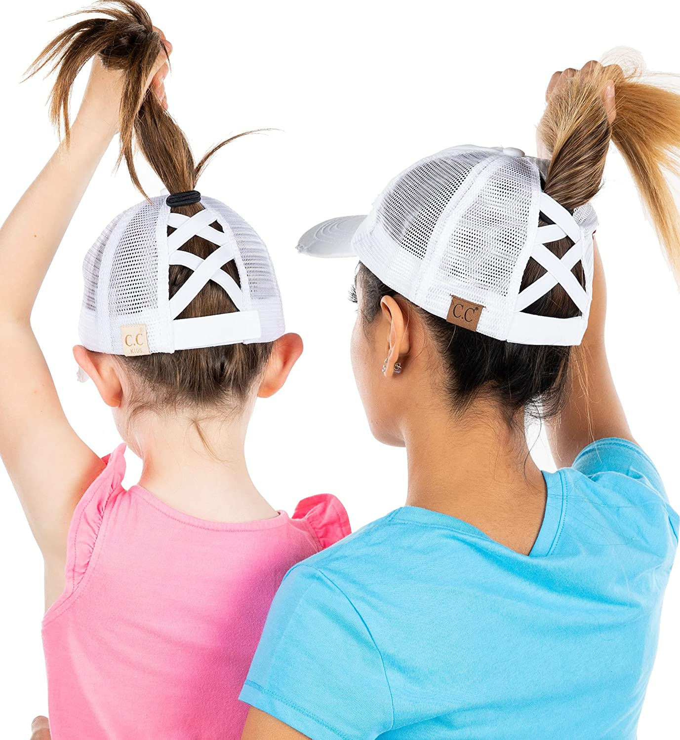 Mommy and me Criss Cross Hat White Spasm price Fixed price for sale 2 Pack Bundle: