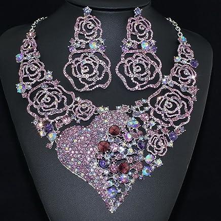 Y0052 Holy White Rhinestone Crystal Earrings Bib Necklace Bridal Set Large Size