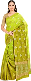 MIMOSA Women's Banarasi Linen Saree With Unstitched Blouse (4656-2546-Z2H-OLV_Green)