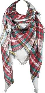 VIVIAN & VINCENT Women's Plaid Blanket Winter Scarf Warm Wrap Oversized Shawl Cape