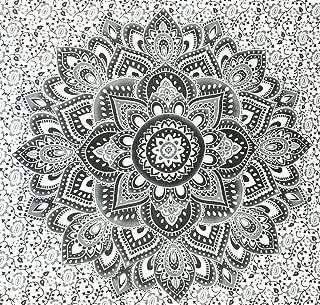 Jaipur Handloom Grey Black Ombre Tapestry Wall Hanging Ombre Bedding, Mandala Tapestry, Dorm Decor Indian Mandala Wall Art Hippie Wall Hanging Bohemian Bedspread