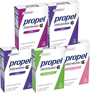 Propel Powder Packets Four-Flavor Variety Pack With Electrolytes, Vitamins and No Sugar (50 count)