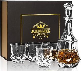KANARS 5-teiliges Whisky Karaffe und Gläsern Set, 750ml Whisky Dekanter mit 4x 300ml Gläser, Bleifrei Kristallgläser, Schöne Geschenk Box, Hochwertig
