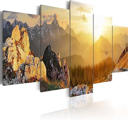murando – Bilder Landschaft Gebirge 200×100 cm Vlies Leinwandbild 5 TLG Kunstdruck modern Wandbilder XXL Wanddekoration Design Wand Bild – Natur…