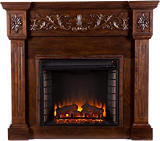 Southern Enterprises Calvert Carved Electric Fireplace, Espresso Finish