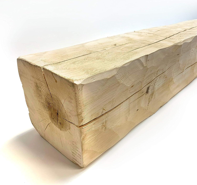 Wilson Wood Crafts Rustic Hand Hewn Barn Beam Mantel (8x8-72 inches Long)