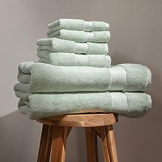 100% Organic Cotton Bath Towel Set   Bathroom Luxury Towel Set of 6   GOTS Certified   Hotel Premium Towels   700 GSM   2 ...