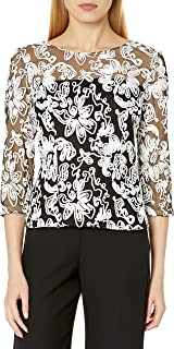 Alex Evenings Women's Embroidered Blouse Shirt (Missy and Petite)