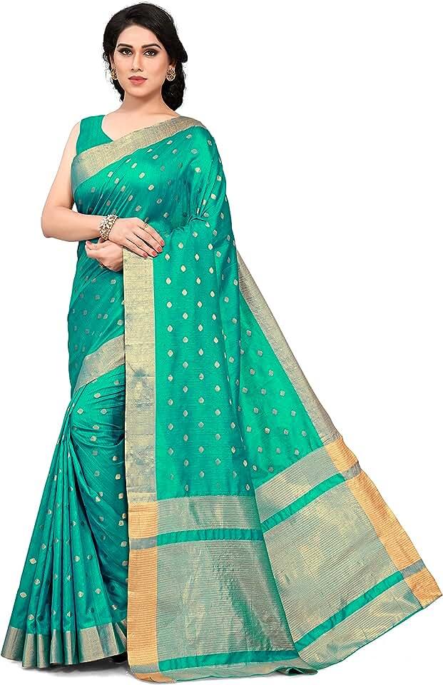 Indian SOURBH Women's Kanchipuram Silk Blend Saree with Blouse Piece Saree