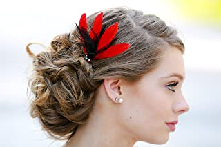 Red Black Hair Fascinator - Feather Clip Accessory - Wedding Bridal Special  Occasion Bridesmaid Clip 53ae26a226f