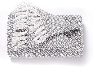 EHC Super Soft Cotton Große Überwurfabdeckungen Bis zum 2-Sitzer-Sofa oder Doppelbett – Grau