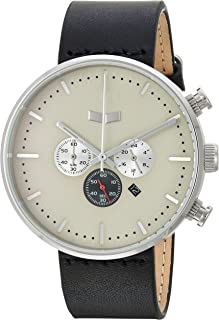 Vestal Roosevelt Chrono Stainless Steel Japanese-Quartz Watch with Leather Calfskin Strap, Black, 20 (Model: RSTCL06)
