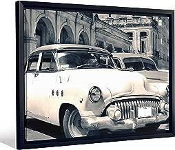 "JP London FCNV2191 Framed Gallery Wrap Heavyweight Canvas Art Wall Decor (Classic American Cars Havana Cuba at 20.375"" High x 26.375"" Wide x 1.25"" Thick)"