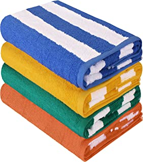 Utopia Towels Cabana Stripe Beach Towel (30 x 60 Inches) - 100% Ring Spun Cotton Large Pool Towels, Soft and Quick Dry Swi...