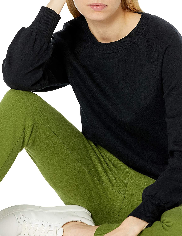 Amazon Essentials Women's Classic Fit Gathered Long Sleeve Crewneck Sweatshirt