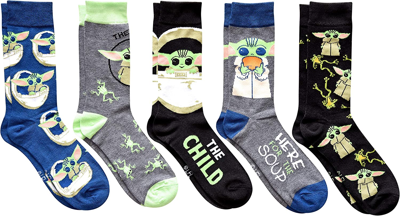 Star Wars Baby Yoda The Mandalorian Men's Crew Socks 5 Pair Pack