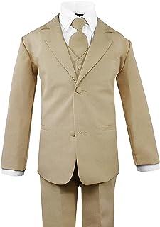 3ba9fb000ce Luca Gabriel Toddler Boys  5 Piece Classic Fit No Tail Formal Khaki Dress  Suit Set
