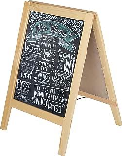Natural Wood A-Frame Chalkboard, Double-Sided Sidewalk Sandwich Board Menu Sign