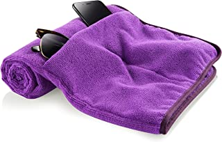 The Easy Gym Towel Zipper Pocket Gym Towels [2 Pack] for Women and Men. Carry Your Phone and Keys in Professional Microfiber Workout Towels for Sport, Fitness, Yoga. Perfect for Wireless Headphones