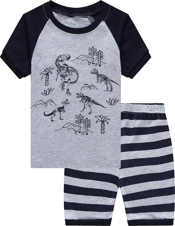 shelry Boys Pajamas Summer Cotton Clothes Kids Pjs Toddler Sleepwear Short Pants Set