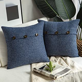 "Phantoscope Set of 2 Triple Button Cotton Blend Throw Pillow Cover 26"" x 26"""