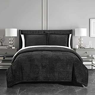 Chic Home 3 Piece Comforter Set Ribbed Textured Microplush Sherpa Bedding-Pillow Shams Included, Black, king