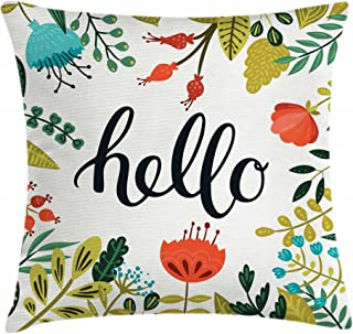 Ambesonne Hello Throw Pillow Cushion Cover, Brush Lettering Designed Calligraphy Print of Hello on Colorful Floral Background, Decorative Square Accent Pillow Case, 16