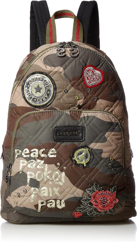 Desigual Bols Lima Military Parches Backpack Rucksack, militar delavado