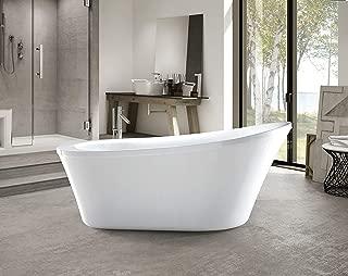 Vanity Art 70-Inch Freestanding White Acrylic Bathtub | UPC certified Modern Stand Alone Soaking Tub with Polished Chrome Round Overflow & Pop-up Drain - VA6839
