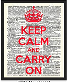 Keep Calm And Carry On Dictionary Wall Art Print: Unique Room Decor for Boys, Girls, Men & Women - (8x10) Unframed Picture - Great Gift Idea