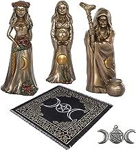 Sarimoire Altar Tarot Cloth Triple Goddess 3 Piece 7 in Cold Cast Bronze Statues Triple Moon Pentagram Pendant Altar Kit