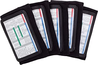 WristCoaches QB Wrist Coach - Playbook Wristband (Adult - Black) - Heavy Duty Football Wristbands for Men with Three Playsheet Compartments - Perfect for Flag Football and Tackle Football (5-Pack)