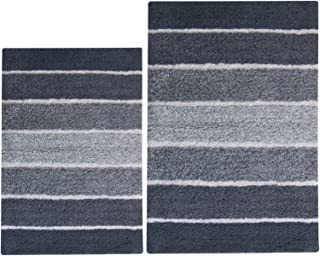 Chardin Home - 100% Pure Cotton - 2 Piece Cordural Stripe Bath Rug Set, (21''x34'' & 17''x24'') Gray-Charcoal with Latex spray non-skid backing