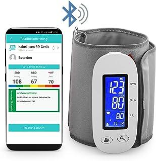 MedX5 (Actualización 2020) Tensiómetro para brazo inalámbrica con Bluetooth con app gratuita para iOS y Android, tensiómetro inalámbrico con detección del ritmo cardiaco
