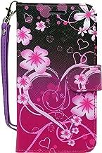Motorola Moto E4 Case, Moto E4 Wallet Case, Customerfirst, Wrist Strap Flip Folio Pu Leather Wallet Case with ID&Credit Card Slot For Moto E4 (Big Heart Pink)
