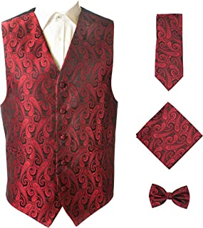 4pc Paisley Vest Set,Vest,Necktie, Bow-Tie, Handkerchief Set