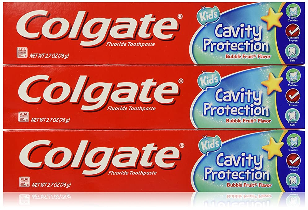 COLGATE Fluoride Toothpaste Cavity Protection For Kids, Bubble Fruit Flavor 2.7 oz.. (3 Pack)