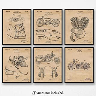 Original Harley Davidson Patent Poster Prints, Set of 6 (8x10) Unframed Photos, Wall Art Decor Gifts Under 20 for Home, Office, Man Cave, College Student, Teacher, American Motorcycle Touring Fan