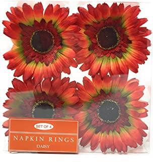 Northeast Home Goods Red Gerbera Daisy Napkin Rings, Set of 4