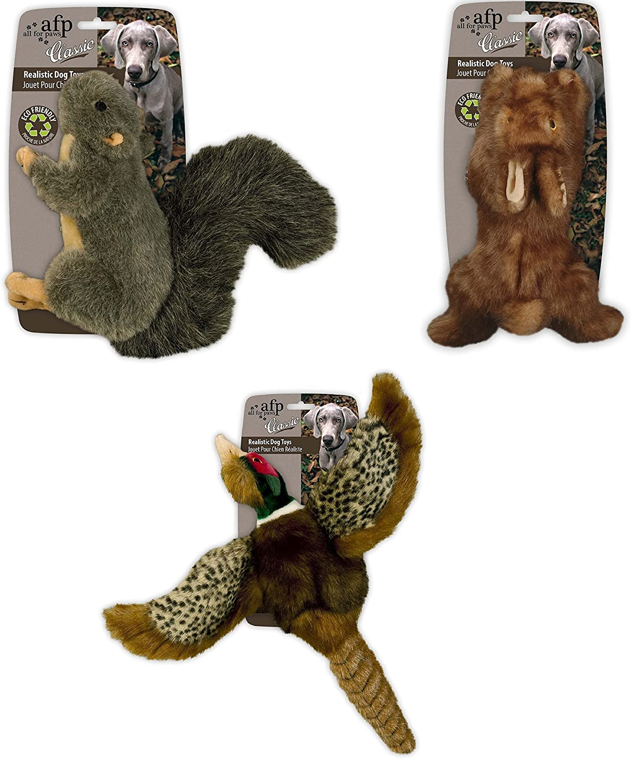 Paws Classic Bundle of 3 Squirrel, Brown Rabbit, and Pheasant  for