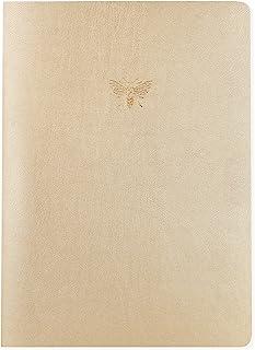 Graphique Diário grande de couro vegano, abelha – 18 cm x 24 cm, 192 páginas pautadas, uma linda abelha enfeitada em folha...