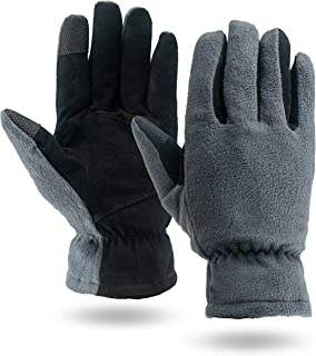 Illinois Glove Company, 3M Thinsulate Lined Fleece and Suede Deerskin Winter Gloves, Slip-on Style, Gray and Black